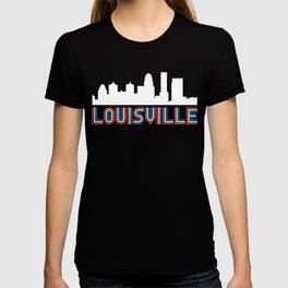 Red White Blue Louisville Kentucky Skyline T-shirt