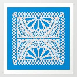 Fiesta de Flores in Party Blue Art Print