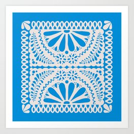 Fiesta de Flores in Party Blue Art Print