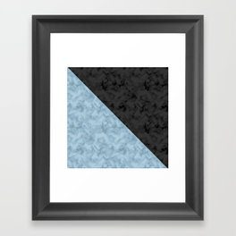 Black , blue marble Framed Art Print