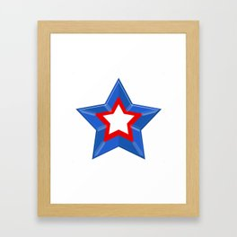 Patriotic Star Solid Red White and Blue Framed Art Print