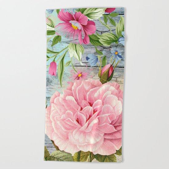 Vintage Flowers #6 Beach Towel