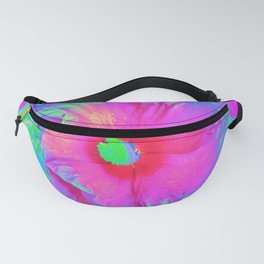 Psychedelic Pink and Red Hibiscus Flower Fanny Pack