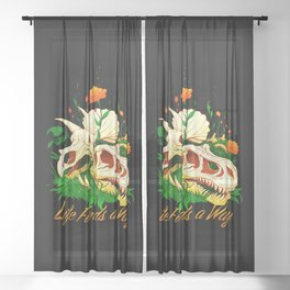 Prehistoric Skull Flower Life Sheer Curtain