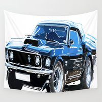 muscle Wall Tapestries featuring american muscle  by Vector Art
