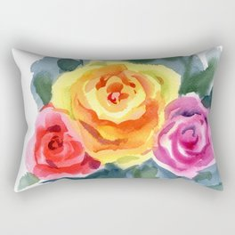 Red, Yellow and Pink Roses Rectangular Pillow