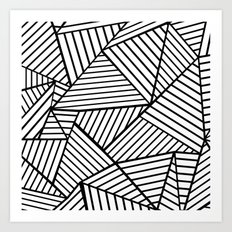 Abstraction Lines Close Up Black and White Art Print