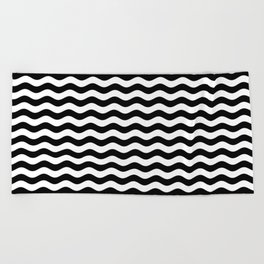 Wavy Stripes (Black/White) Beach Towel