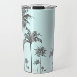 Beachfront palm tree soft pastel sunset graphic Travel Mug