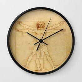 Le proporzioni del corpo umano secondo Vitruvio, Leonardo da Vinci, 1490 Wall Clock