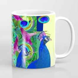 BLUE PEACOCKS & MORNING GLORIES PARALLEL YELLOW PATTERNED ART Coffee Mug