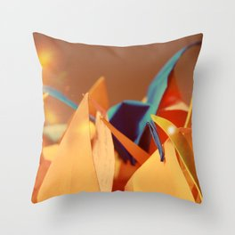 Senbazuru | oranges and blue Throw Pillow