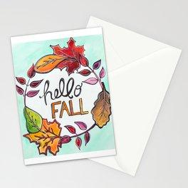 """Hello Fall"" Leaf Art Stationery Cards"