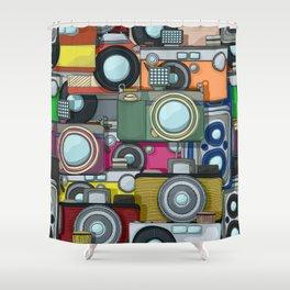 Vintage camera pattern Shower Curtain