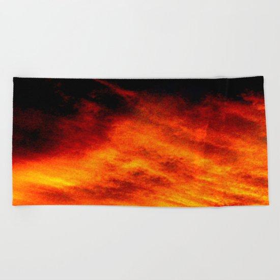 Black Yellow Red Sunset Beach Towel