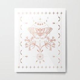 Magical Moth In Rose Gold Metal Print