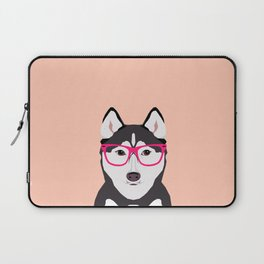 Kamri - Siberian Husky with Pink Hipster Glasses, Cute Retro Dog, Dog, Husky with Glasses, Funny Dog Laptop Sleeve