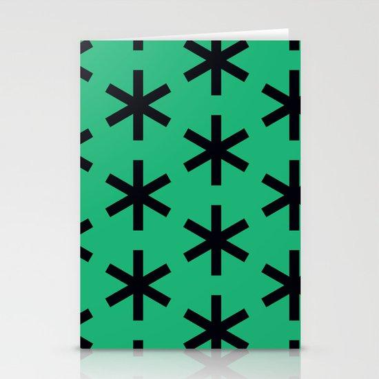 Vondel Black on Green Pattern Stationery Cards