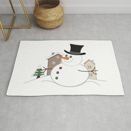 Happy Christmas Snowman Illustration Rug