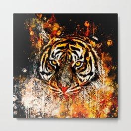tiger head portrait wsb Metal Print