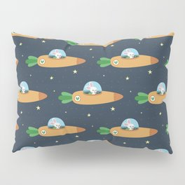 Space bunny and its carrot rocket Pillow Sham