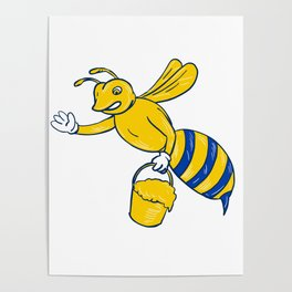 Bumblebee Waving With Honey Drawing Poster