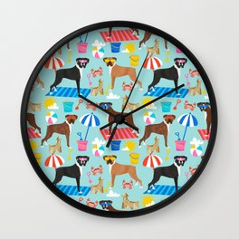 Boxer dog breed beach summer fun dogs boxers pet portrait pattern Wall Clock
