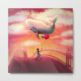 Whale and Balloons Metal Print