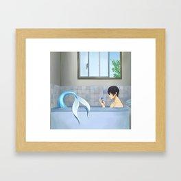 There's a mermaid in my bathroom Framed Art Print