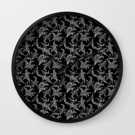Black Vintage-Style Lily-of-the-Valley Pattern Wall Clock