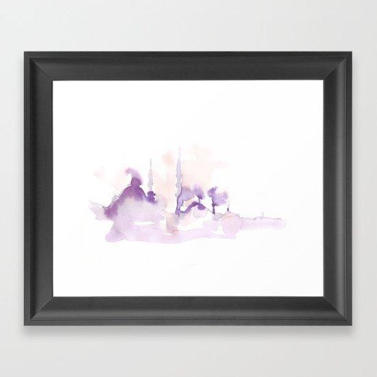 Watercolor landscape illustration_Istanbul Framed Art Print