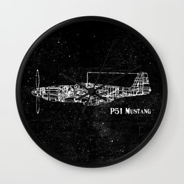North American P51 Mustang (White) Wall Clock