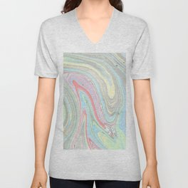 Pink coral mint green aqua watercolor abstract marble pattern Unisex V-Neck