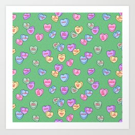 Feminist Valentine Candy Hearts in Green, Kween Art Print