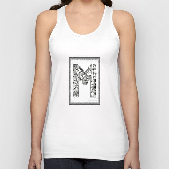 Zentangle M Monogram Alphabet Illustration Unisex Tank Top