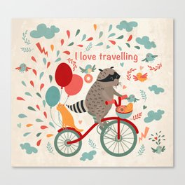 Cute raccoon on a bicycle with a cat, birds, balloons and drops. 'i love travel' text. Trip, journey Canvas Print