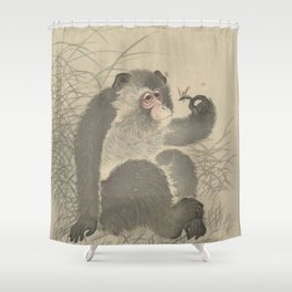 Monkey with insect - Ohara Koson (1900 - 1930) Shower Curtain