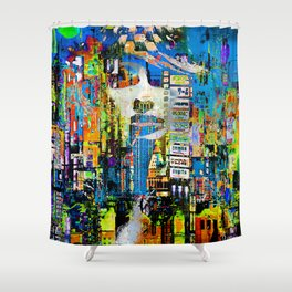 Woman in the city Shower Curtain