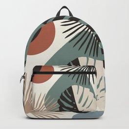 Minimal Yin Yang Monstera Fan Palm Finesse #1 #tropical #decor #art #society6 Backpack
