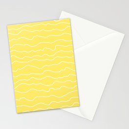 Yellow with White Squiggly Lines Stationery Cards