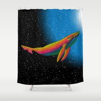 the whale Shower Curtains featuring Whale by Luna Portnoi