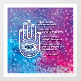 Hamsa Prayer Art Print