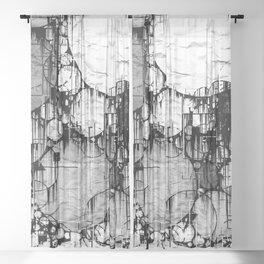 Glitch Black & White Circle abstract Sheer Curtain