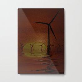 Windmills at Sunset (Digital Art) Metal Print