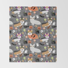 Corgi halloween costume ghost mummy vampire howl-o-ween dog gifts Throw Blanket