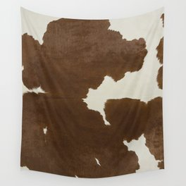 Dark Brown & White Cow Hide Wall Tapestry