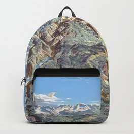 Heinrich Berann - Panoramic Painting of Yosemite National Park with labels (1989) Backpack