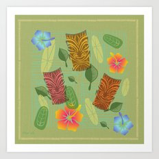 Bamboo Tiki Room Pattern Art Print