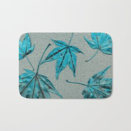 Japanese maple leaves - turquoise on silver gray paper Bath Mat