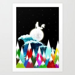 Sirena on the Moon Art Print